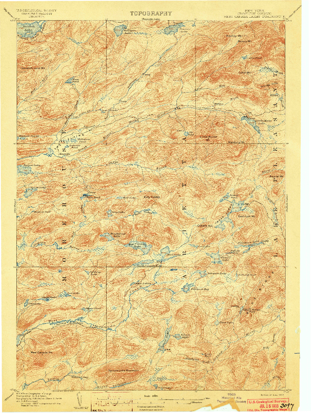 USGS 1:62500-SCALE QUADRANGLE FOR WEST CANADA LAKES, NY 1903