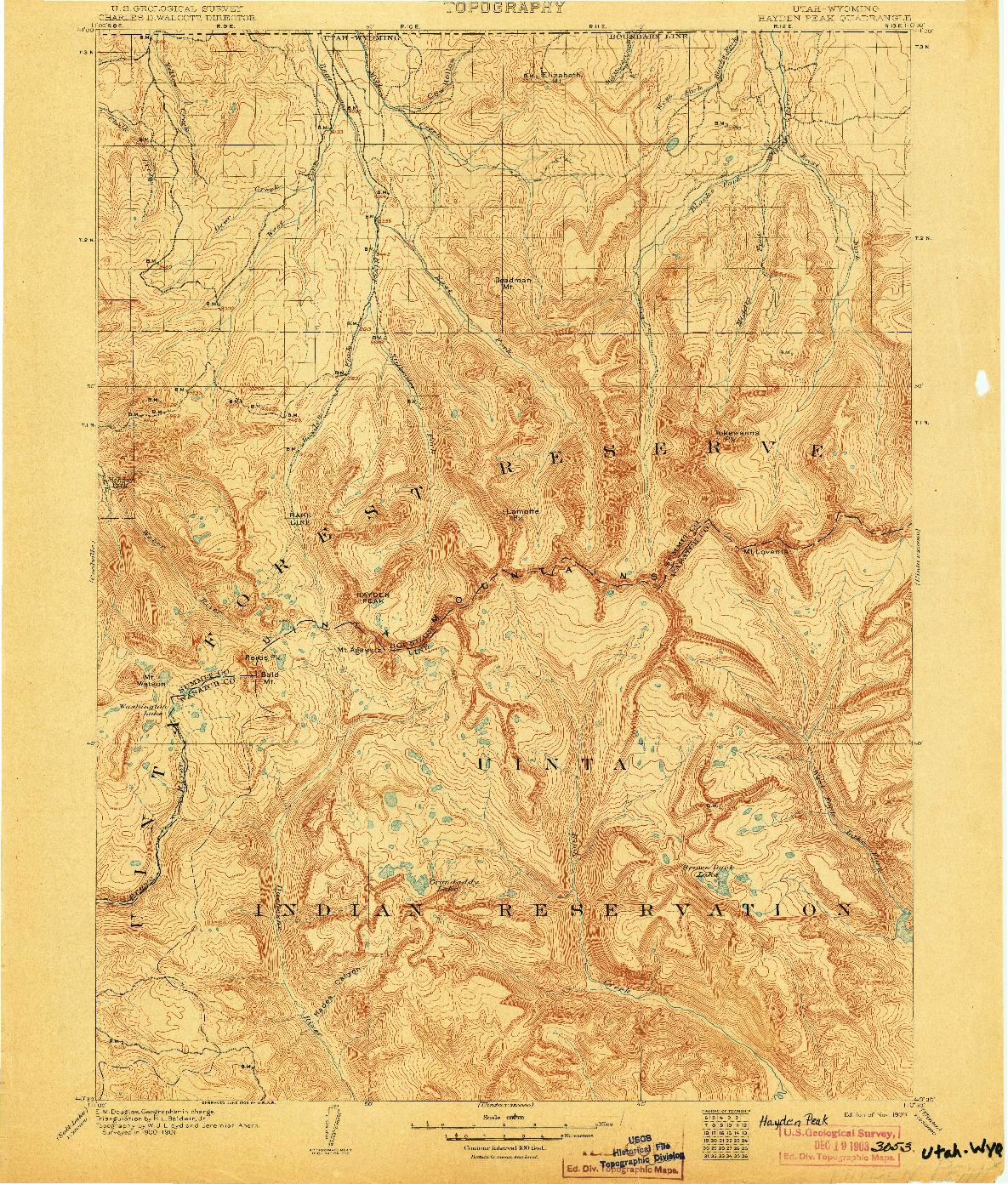 USGS 1:125000-SCALE QUADRANGLE FOR HAYDEN PEAK, UT 1903