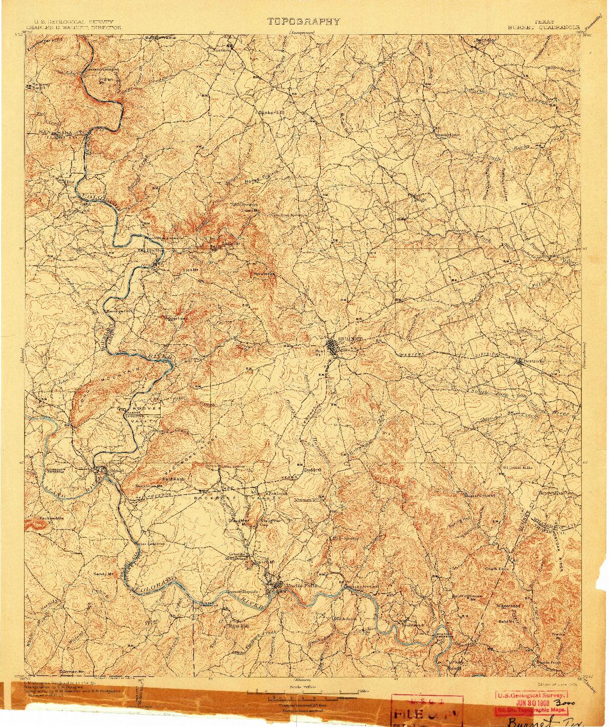 USGS 1:125000-SCALE QUADRANGLE FOR BURNET, TX 1903