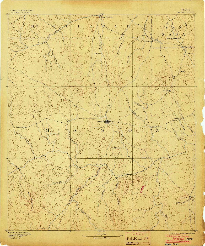 USGS 1:125000-SCALE QUADRANGLE FOR MASON, TX 1894