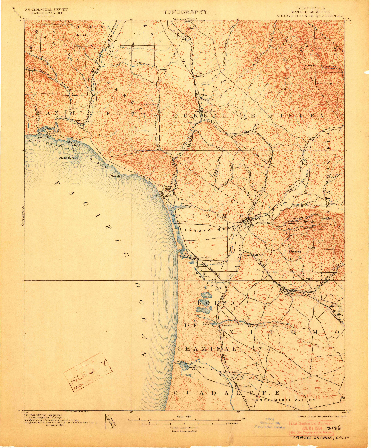 USGS 1:62500-SCALE QUADRANGLE FOR ARROYO GRANDE, CA 1897