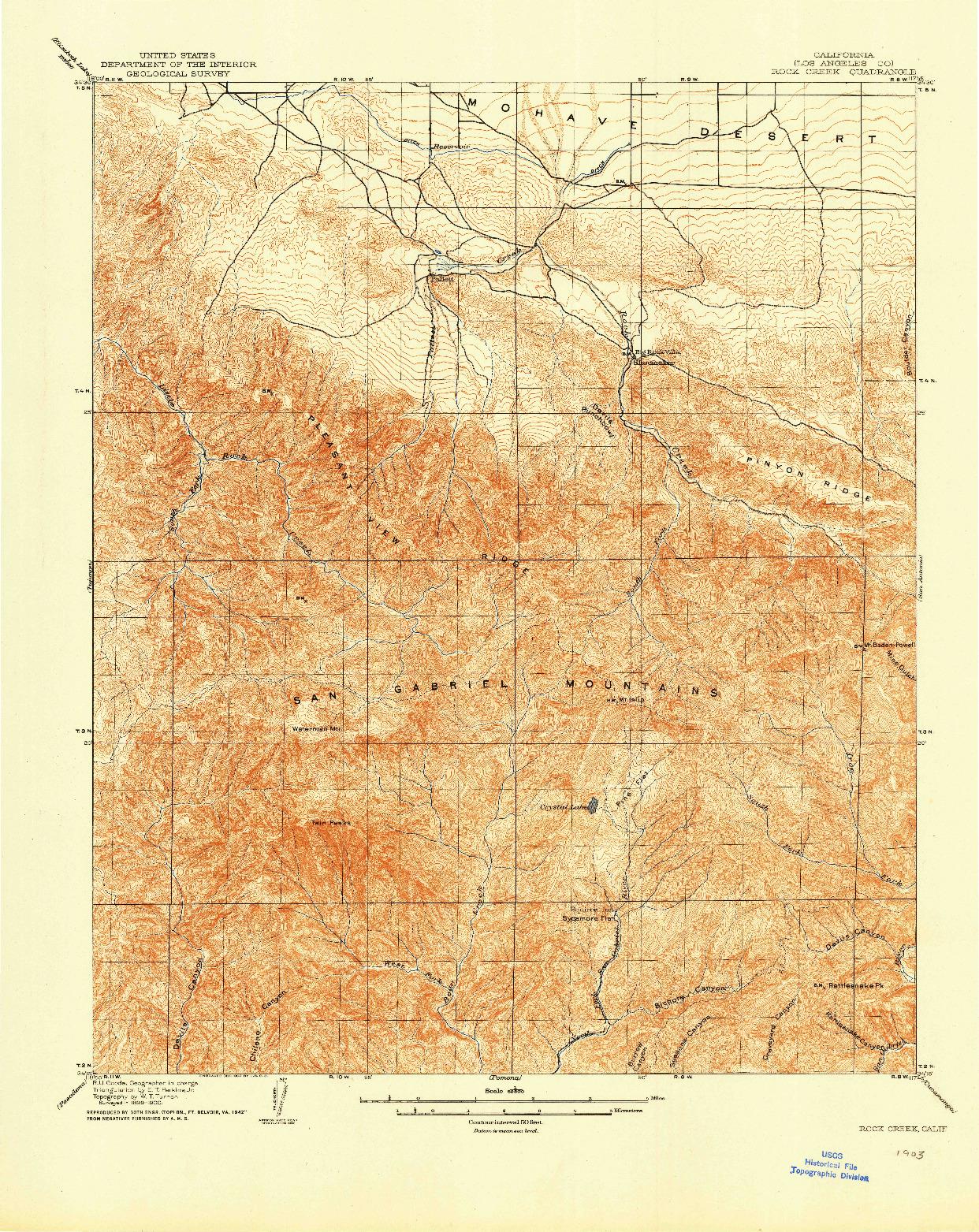 USGS 1:62500-SCALE QUADRANGLE FOR ROCK CREEK, CA 1903