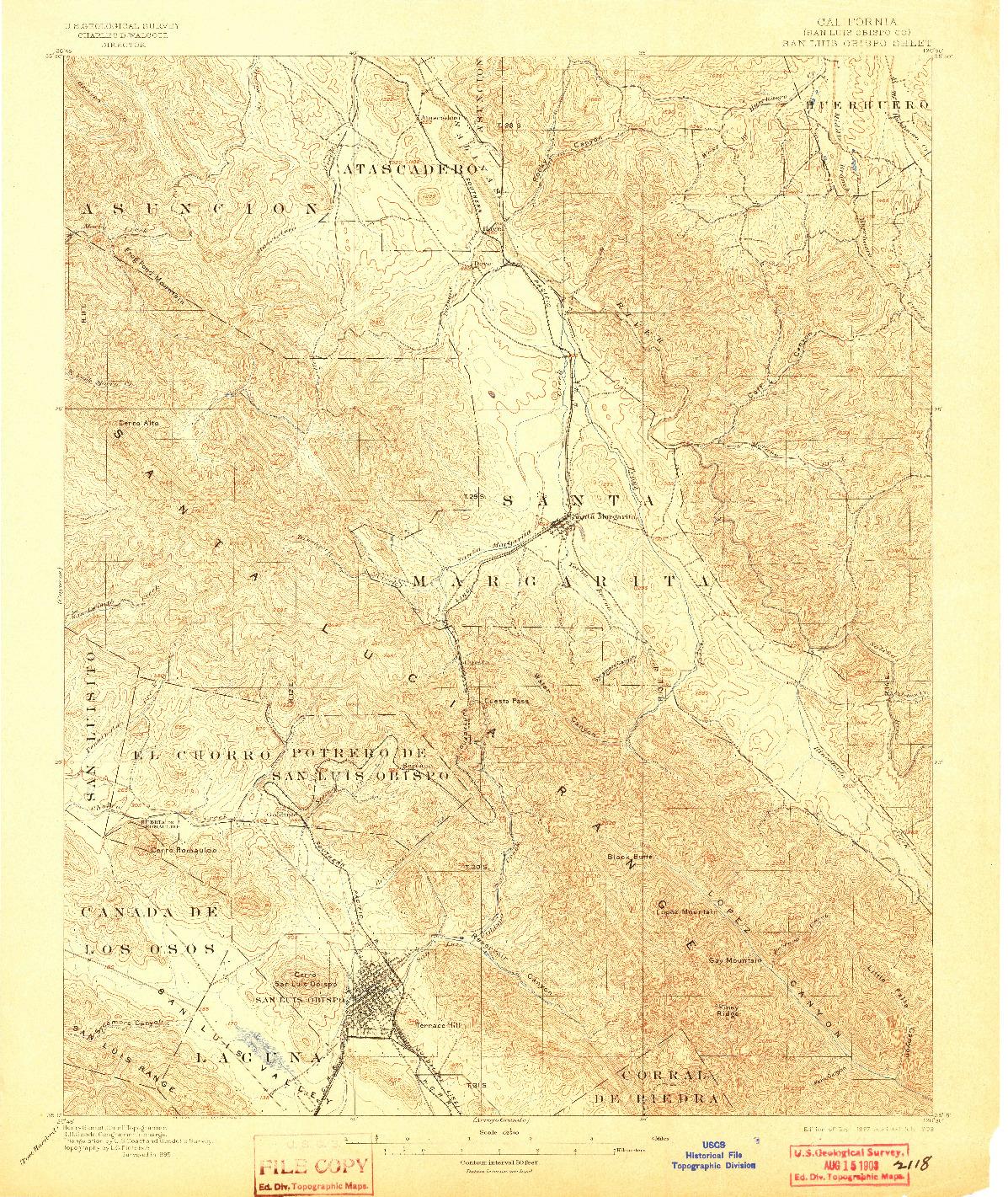 USGS 1:62500-SCALE QUADRANGLE FOR SAN LUIS OBISPO, CA 1897