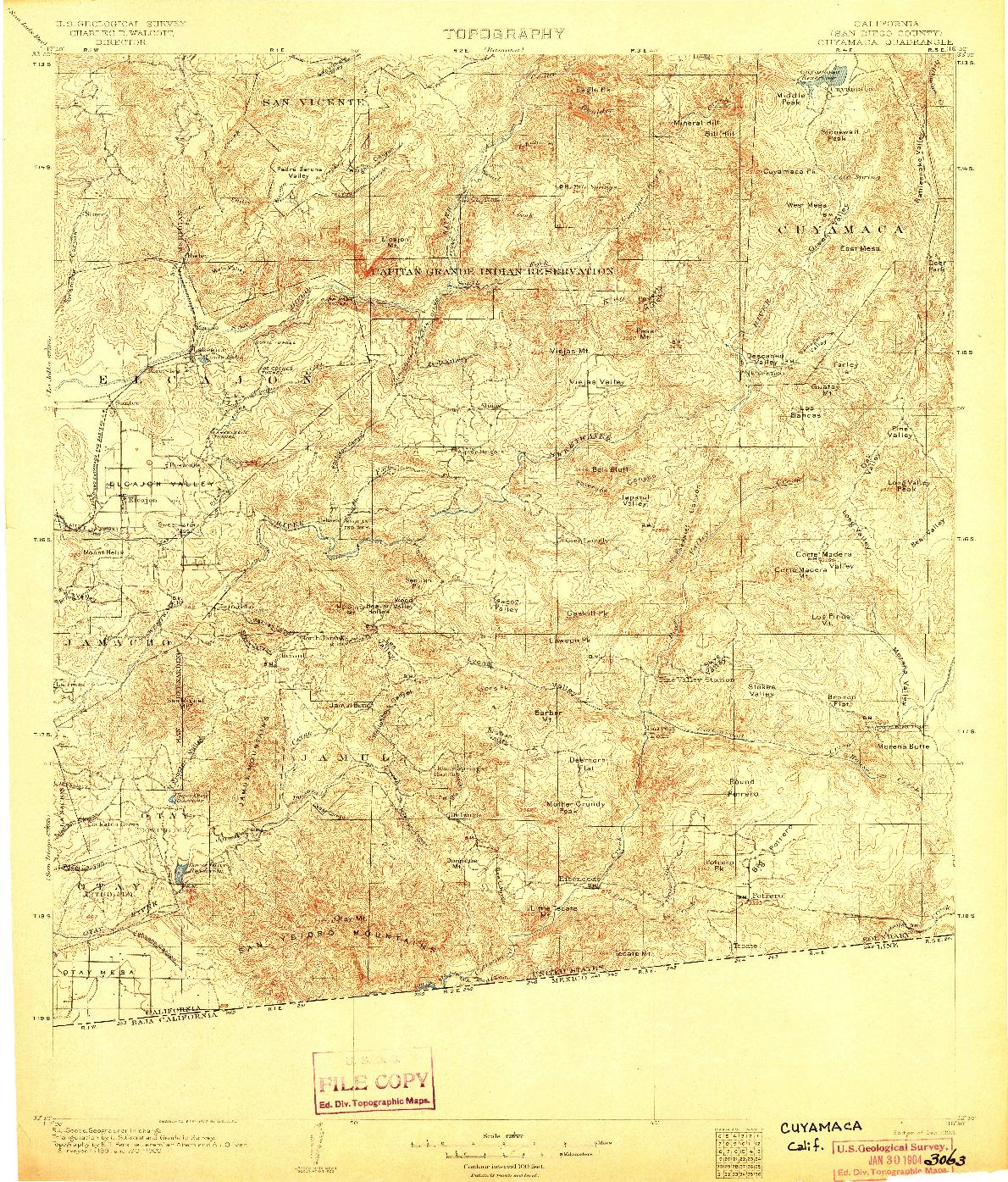 USGS 1:125000-SCALE QUADRANGLE FOR CUYAMACA, CA 1903