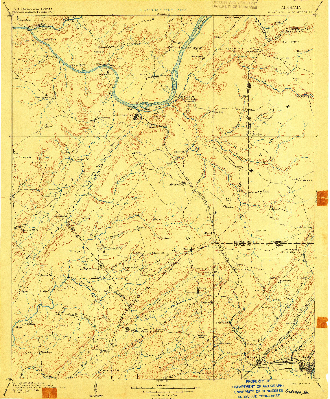 USGS 1:125000-SCALE QUADRANGLE FOR GADSDEN, AL 1903