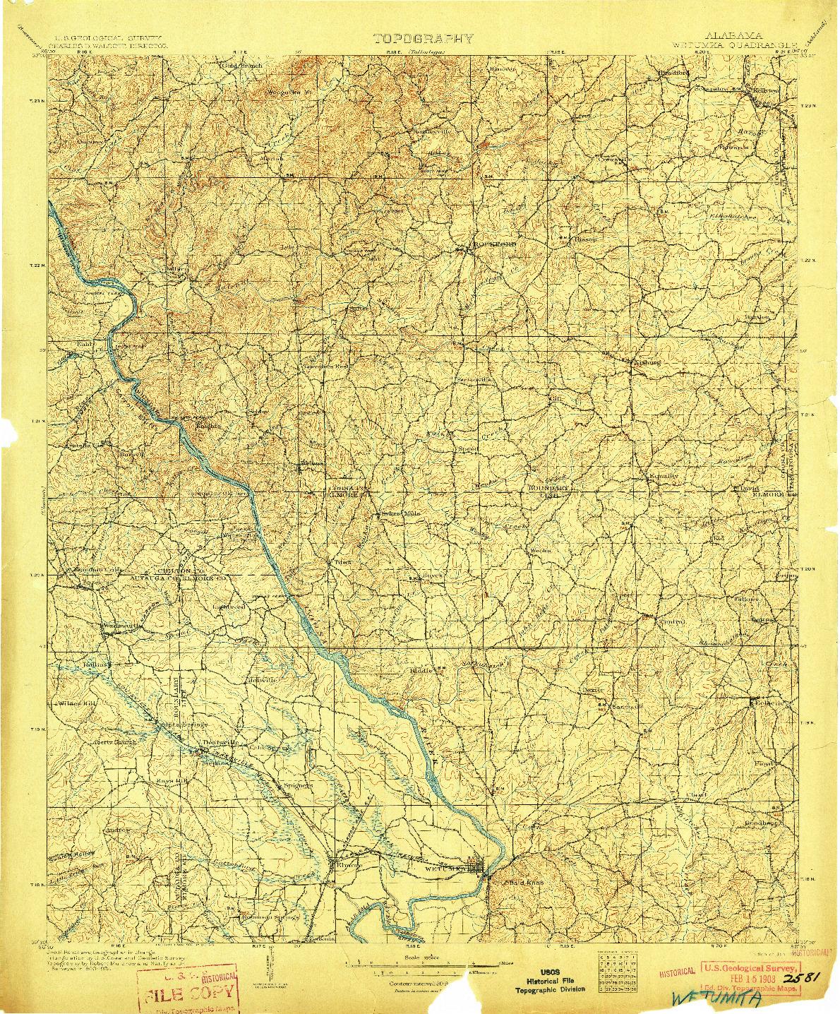 USGS 1:125000-SCALE QUADRANGLE FOR WETUMPKA, AL 1903