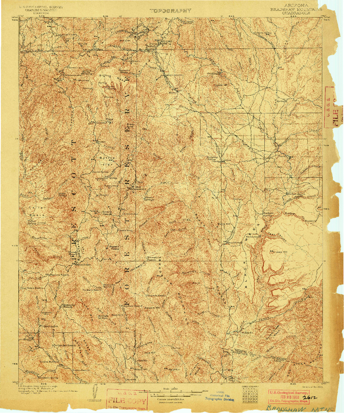 USGS 1:125000-SCALE QUADRANGLE FOR BRADSHAW MOUNTAINS, AZ 1903
