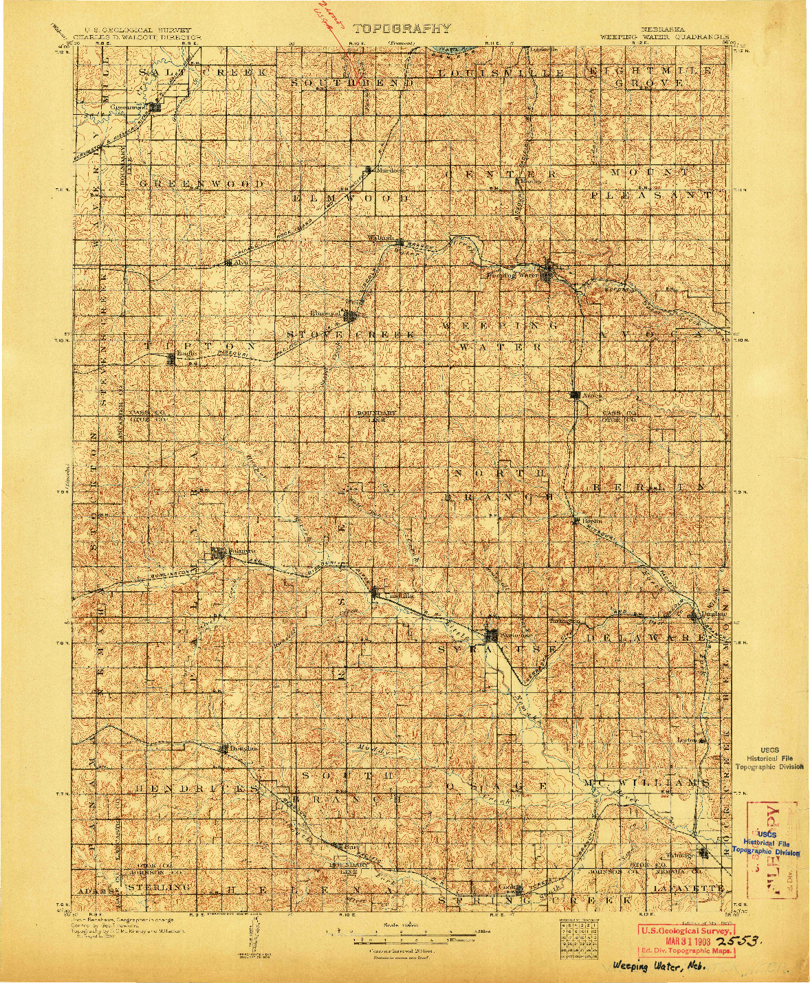 USGS 1:125000-SCALE QUADRANGLE FOR WEEPING WATER, NE 1903