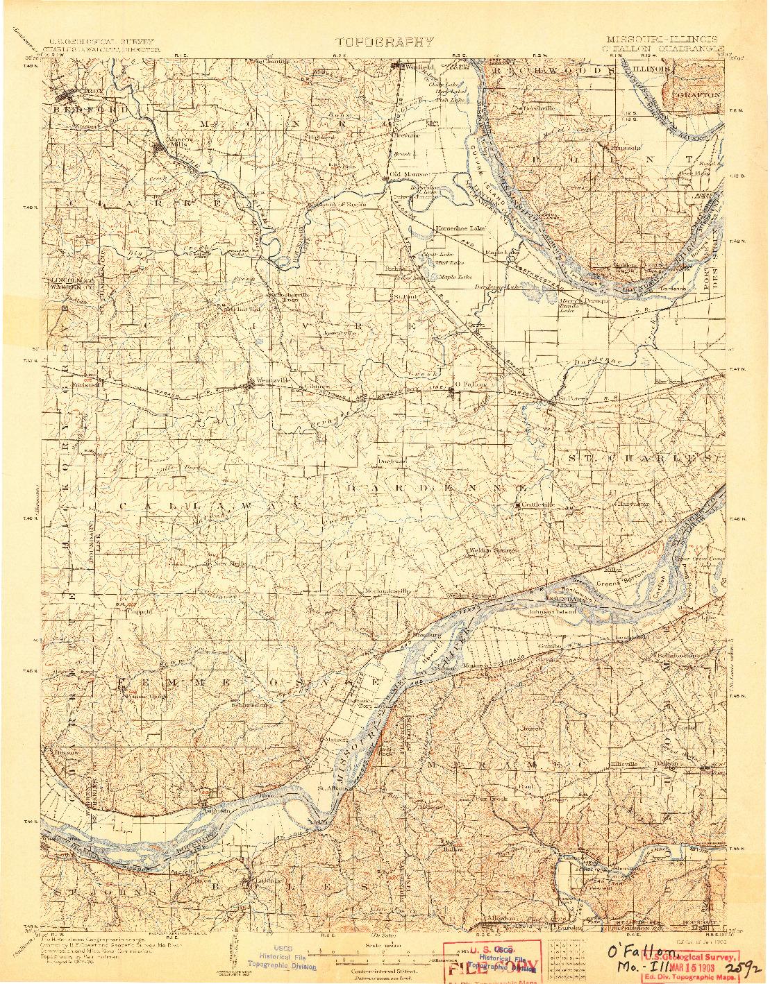 USGS 1:125000-SCALE QUADRANGLE FOR O'FALLON, MO 1903