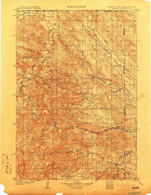 USGS 1:125000-SCALE QUADRANGLE FOR ALADDIN, WY 1903