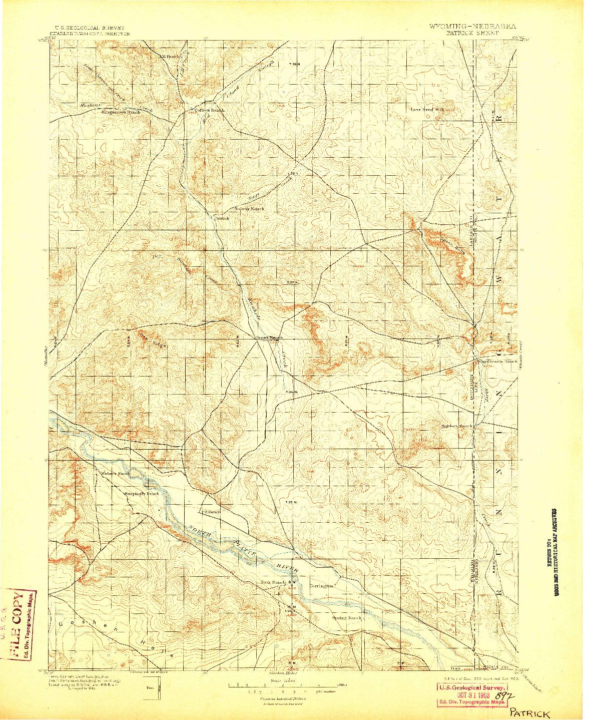 USGS 1:125000-SCALE QUADRANGLE FOR PATRICK, WY 1896