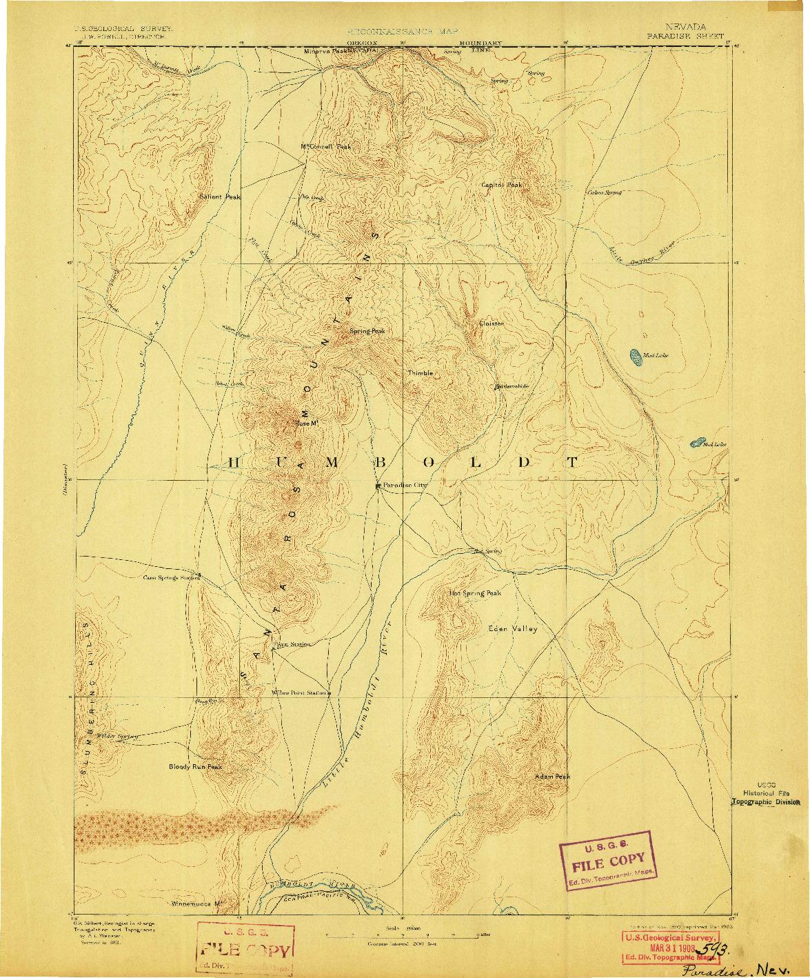 USGS 1:250000-SCALE QUADRANGLE FOR PARADISE, NV 1893