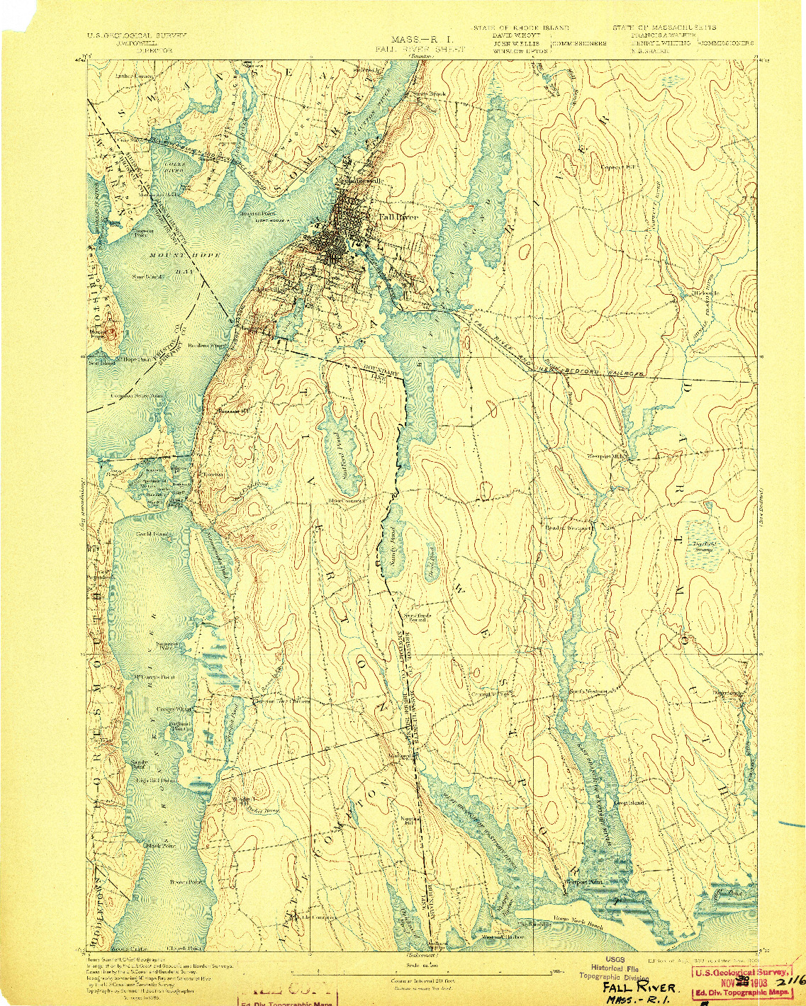 USGS 1:62500-SCALE QUADRANGLE FOR FALL RIVER, MA 1893