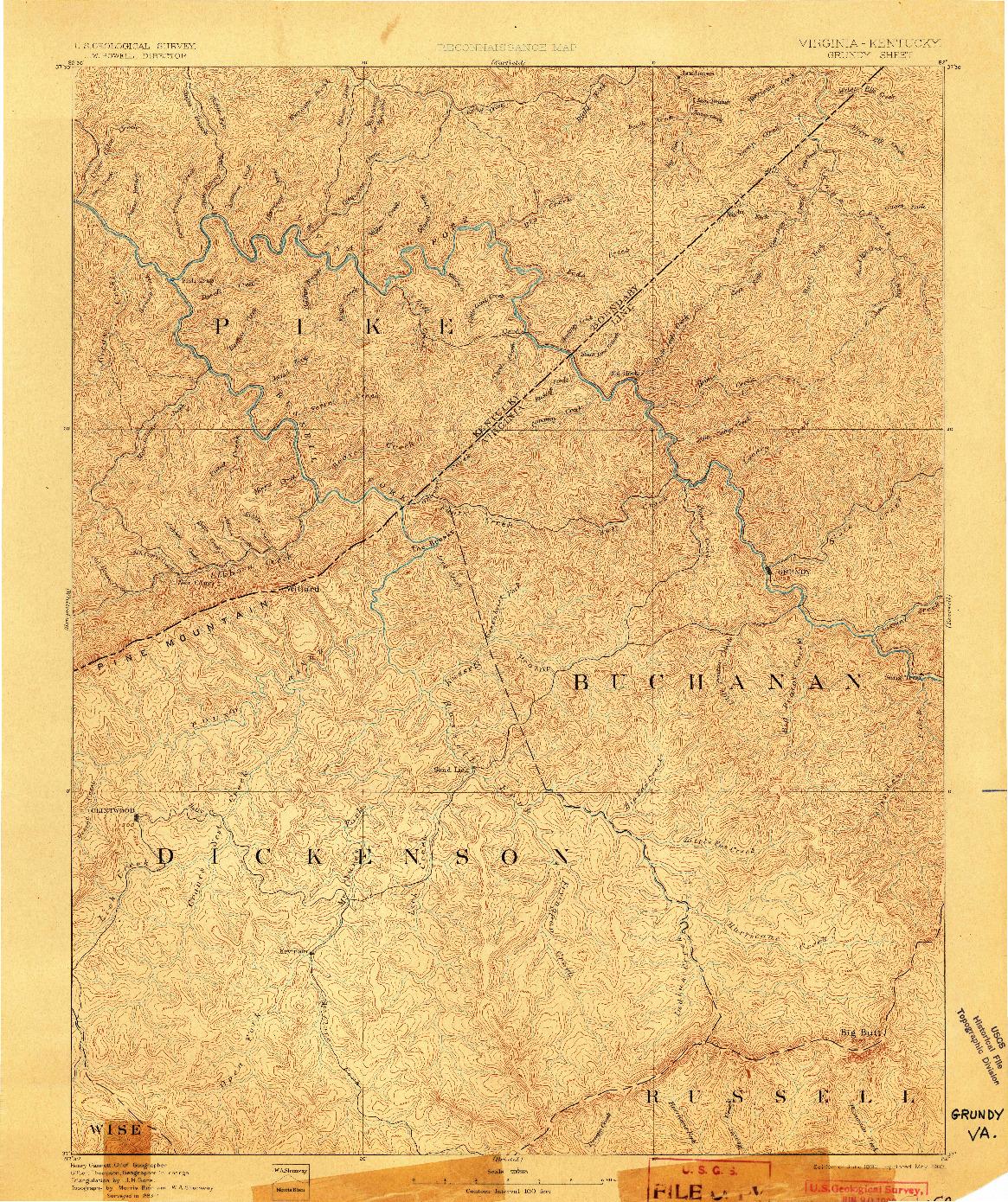 USGS 1:125000-SCALE QUADRANGLE FOR GRUNDY, VA 1892