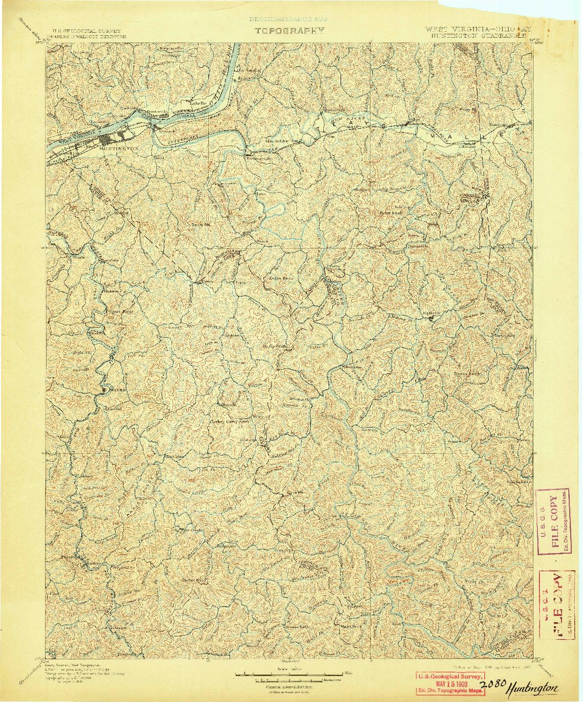 USGS 1:125000-SCALE QUADRANGLE FOR HUNTINGTON, WV 1898