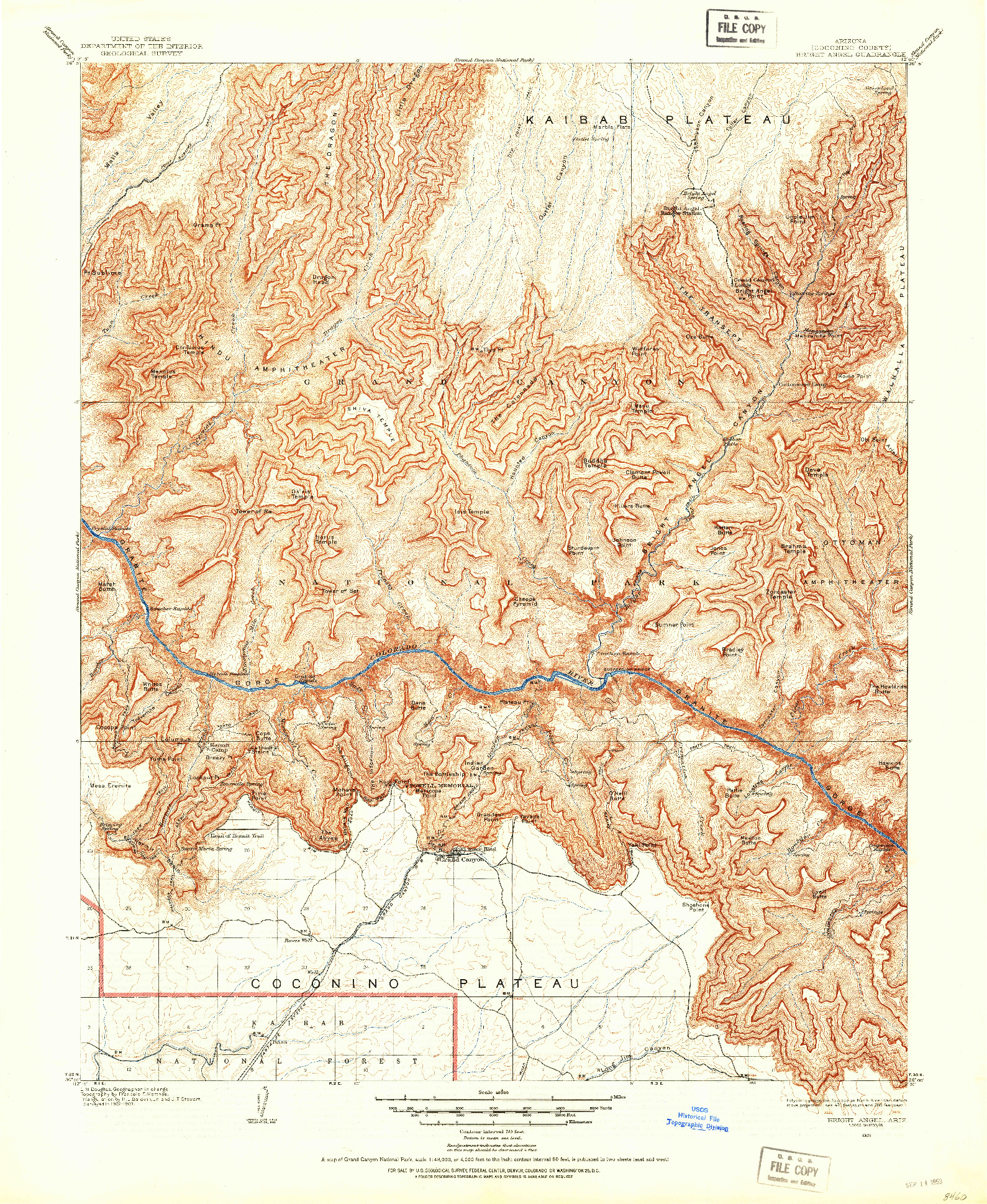 USGS 1:48000-SCALE QUADRANGLE FOR BRIGHT ANGEL, AZ 1903