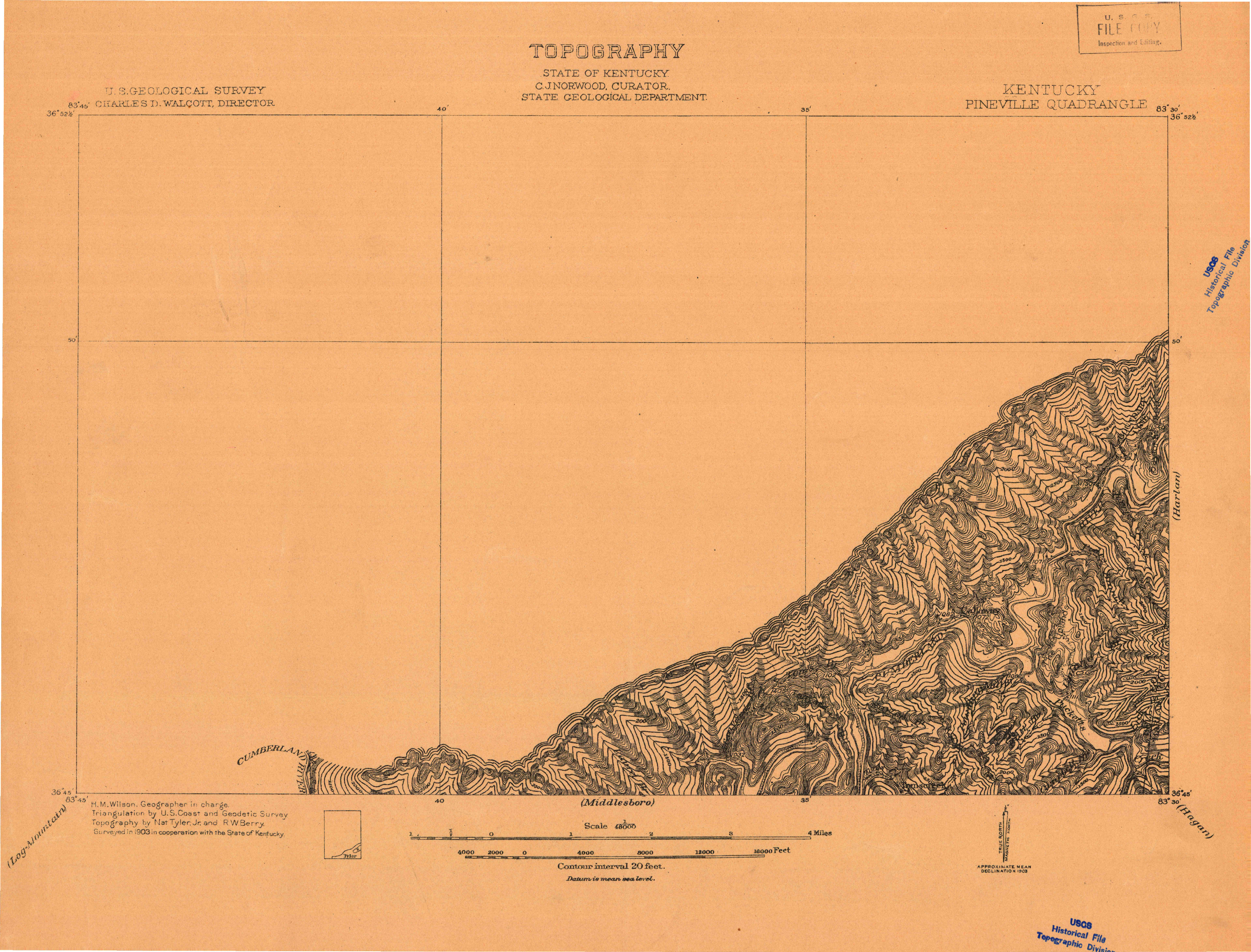 USGS 1:48000-SCALE QUADRANGLE FOR PINEVILLE, KY 1903