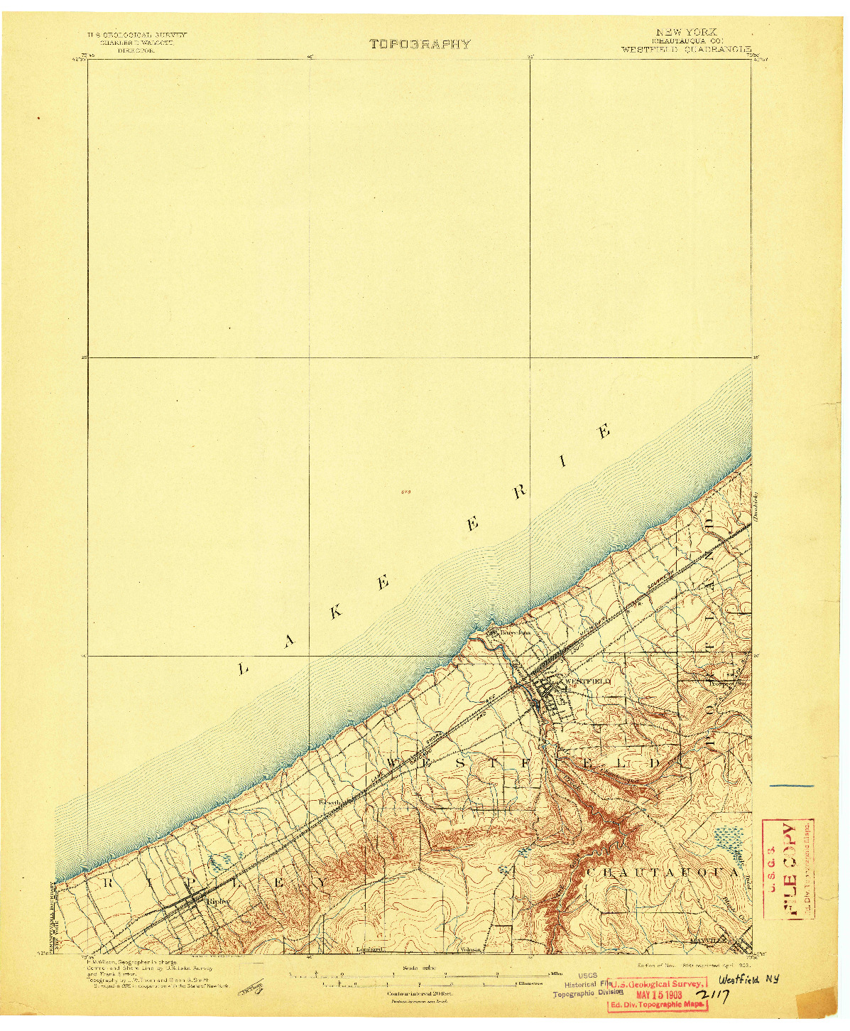 USGS 1:62500-SCALE QUADRANGLE FOR WESTFIELD, NY 1899