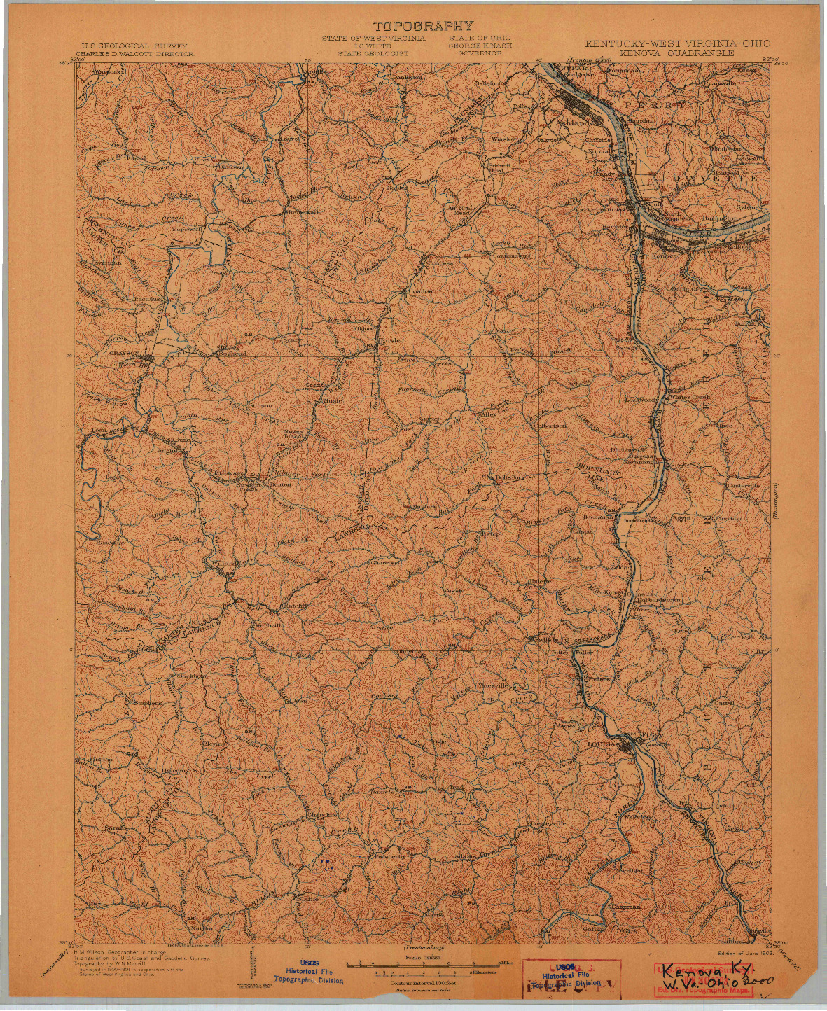 USGS 1:125000-SCALE QUADRANGLE FOR KENOVA, KY 1903