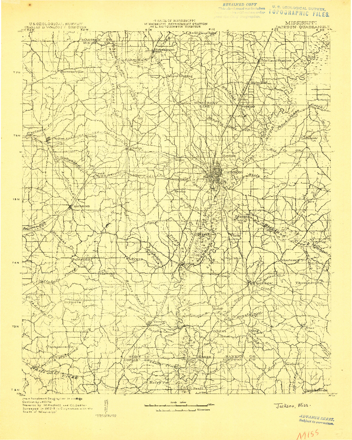USGS 1:125000-SCALE QUADRANGLE FOR JACKSON, MS 1903