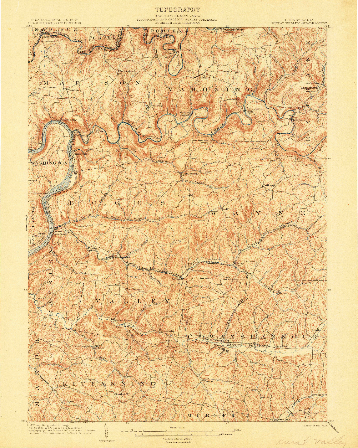USGS 1:62500-SCALE QUADRANGLE FOR RURAL VALLEY, PA 1903