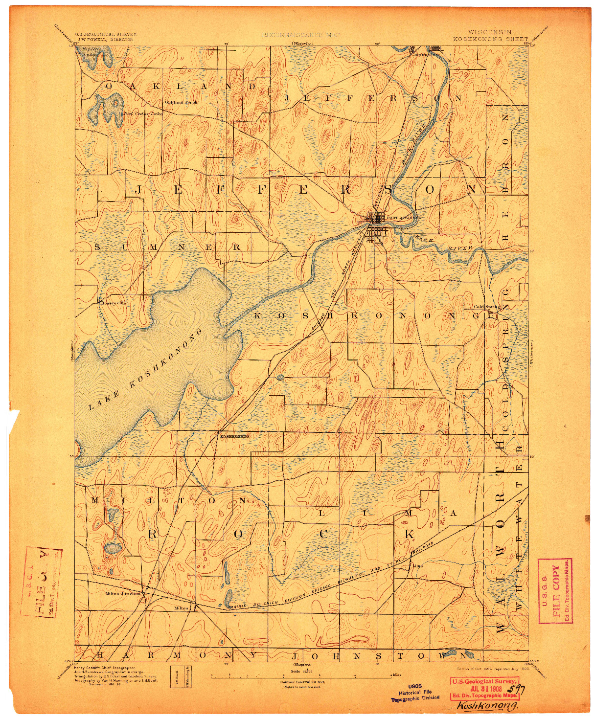 USGS 1:62500-SCALE QUADRANGLE FOR KOSHKONONG, WI 1894