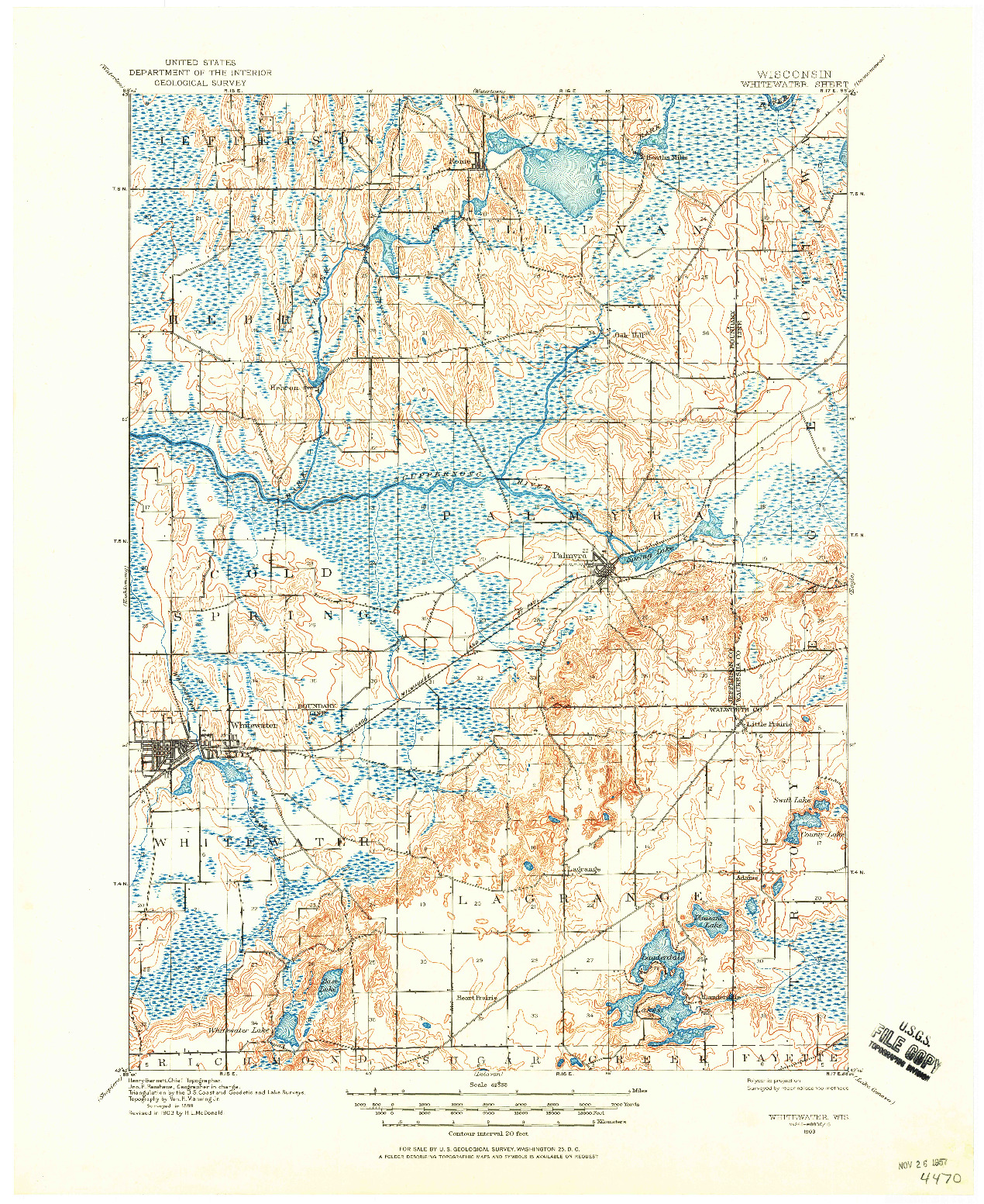 USGS 1:62500-SCALE QUADRANGLE FOR WHITEWATER, WI 1903
