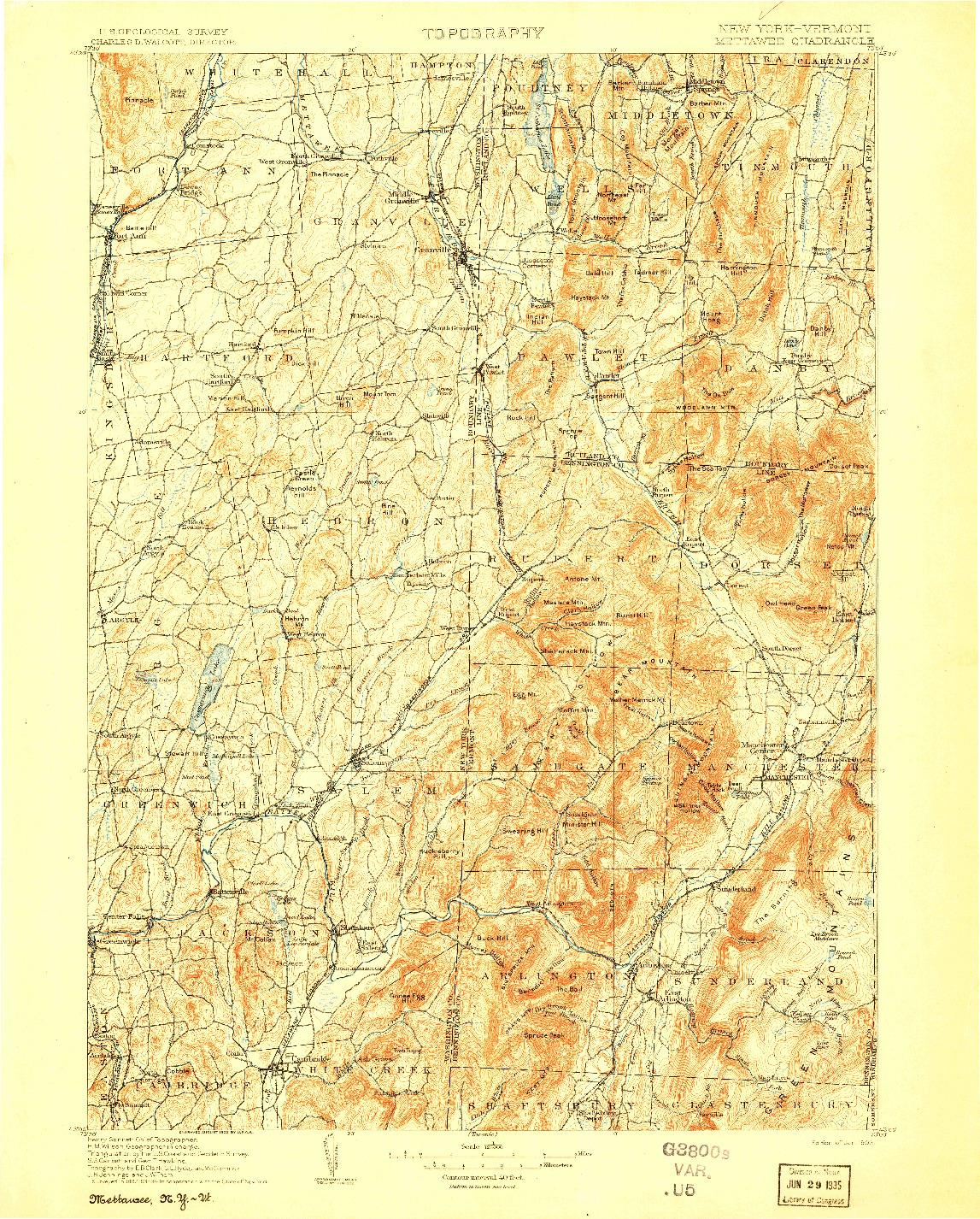 USGS 1:125000-SCALE QUADRANGLE FOR METTAWEE, NY 1903