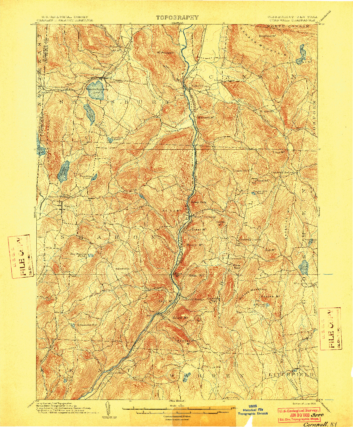 USGS 1:62500-SCALE QUADRANGLE FOR CORNWALL, CT 1903