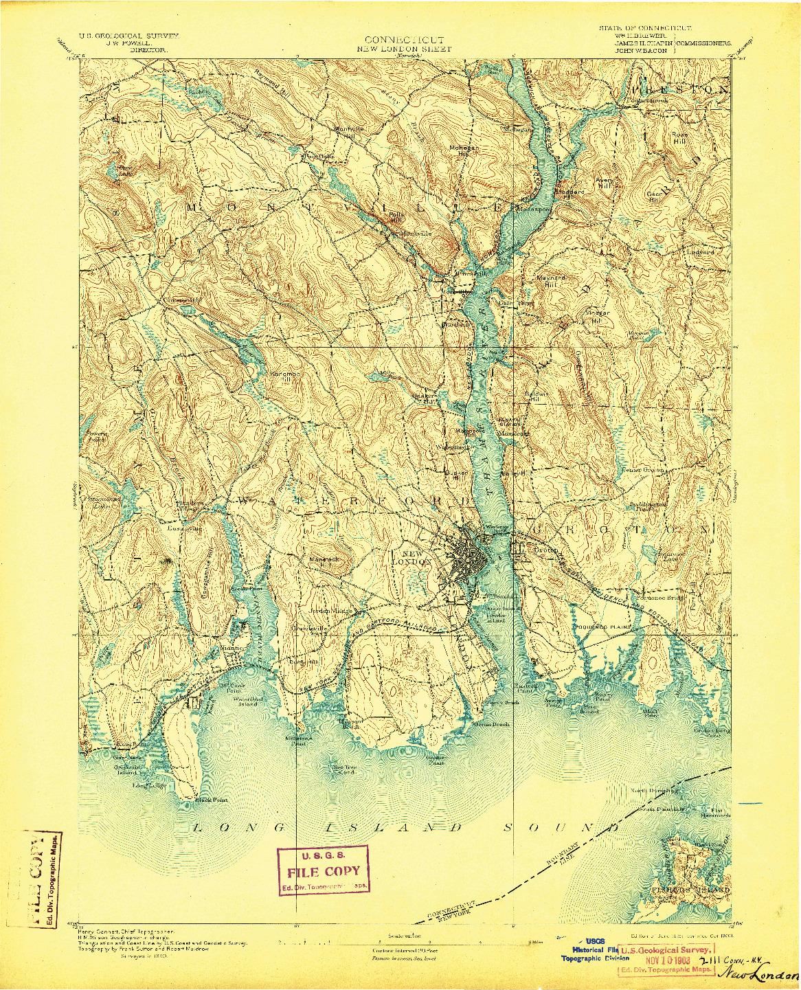 USGS 1:62500-SCALE QUADRANGLE FOR NEW LONDON, CT 1893