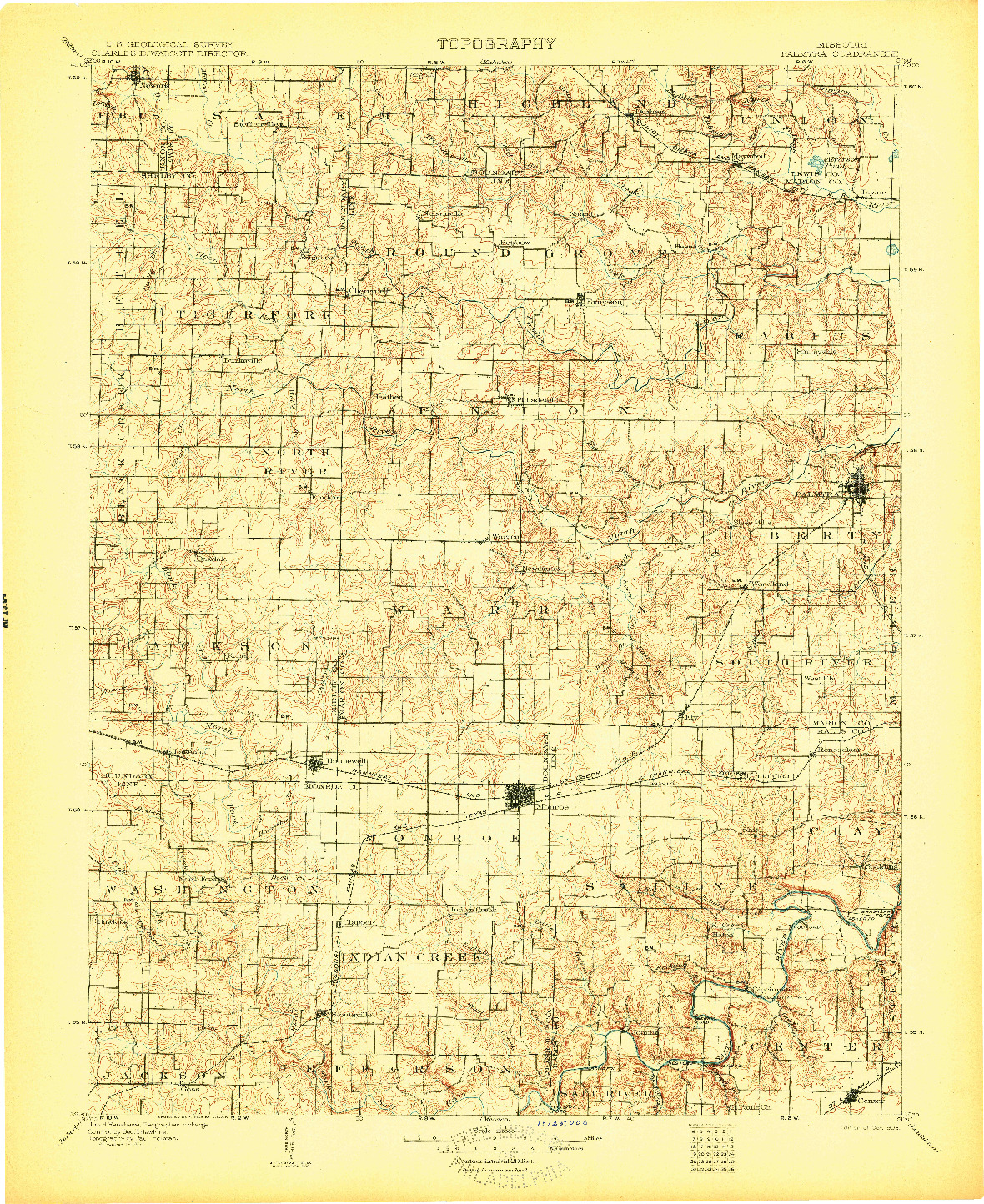 USGS 1:125000-SCALE QUADRANGLE FOR PALMYRA, MO 1903
