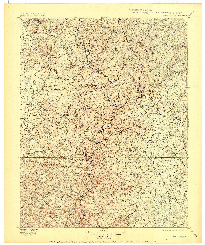 USGS 1:125000-SCALE QUADRANGLE FOR LONDON, KY 1897