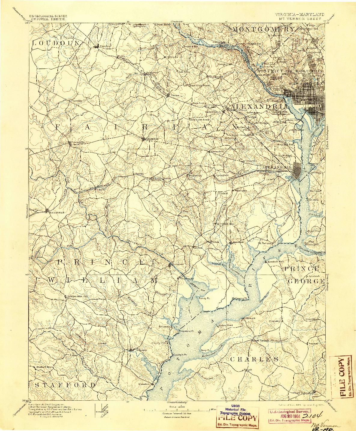 USGS 1:125000-SCALE QUADRANGLE FOR MT. VERNON, VA 1894