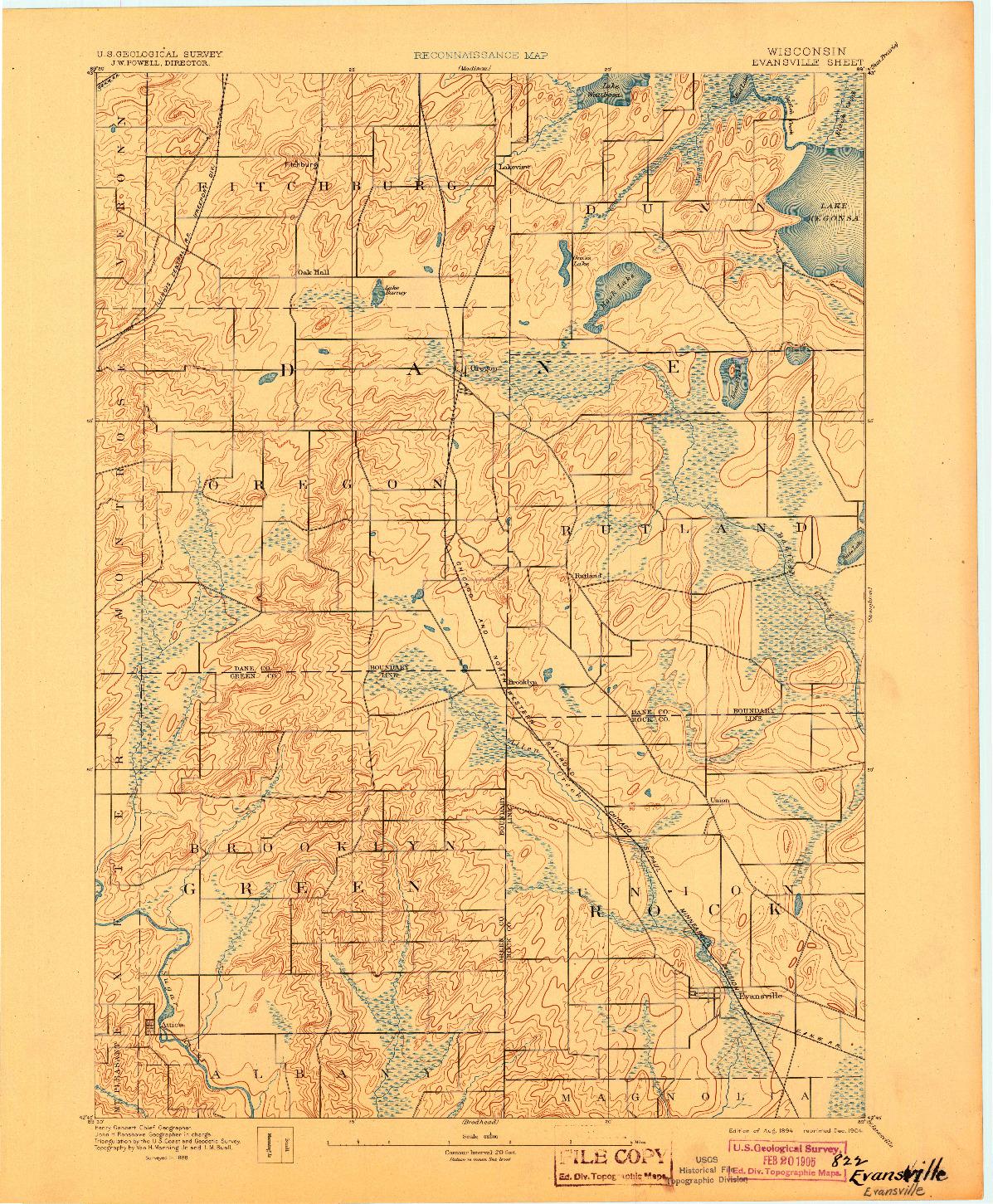 USGS 1:62500-SCALE QUADRANGLE FOR EVANSVILLE, WI 1894