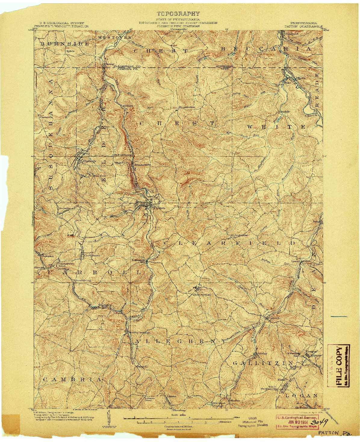 USGS 1:62500-SCALE QUADRANGLE FOR PATTON, PA 1904