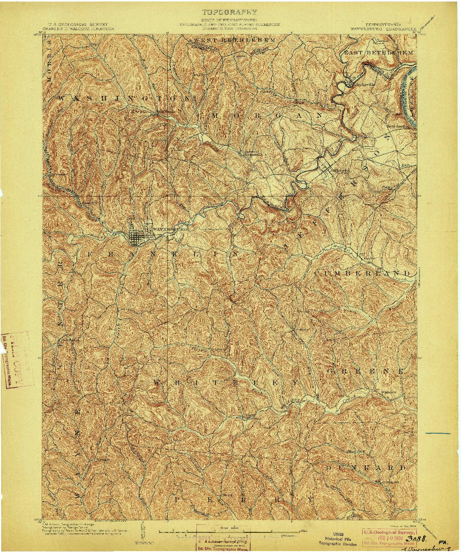 USGS 1:62500-SCALE QUADRANGLE FOR WAYNESBURG, PA 1904