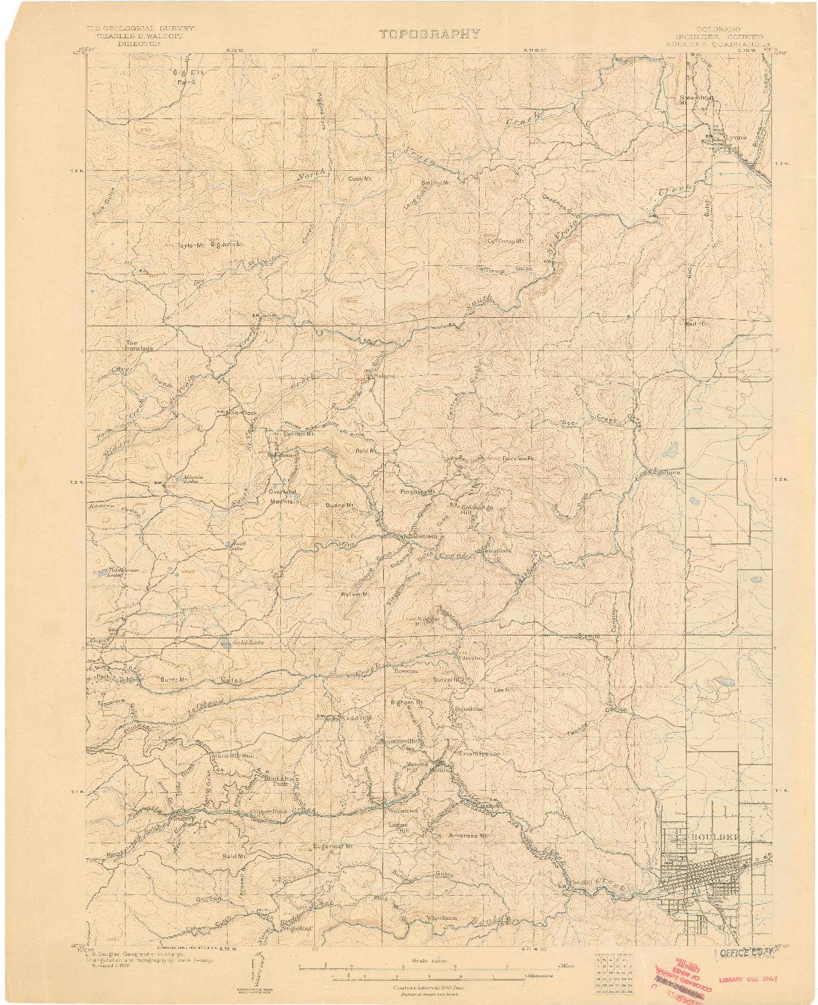USGS 1:62500-SCALE QUADRANGLE FOR BOULDER, CO 1904
