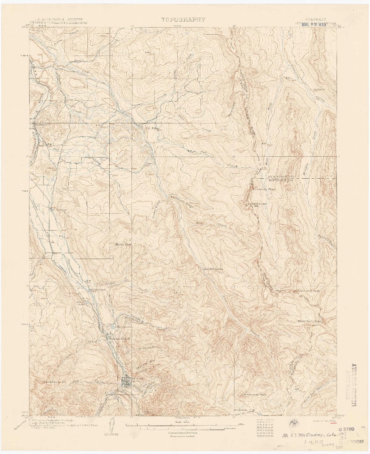 USGS 1:62500-SCALE QUADRANGLE FOR OURAY, CO 1904