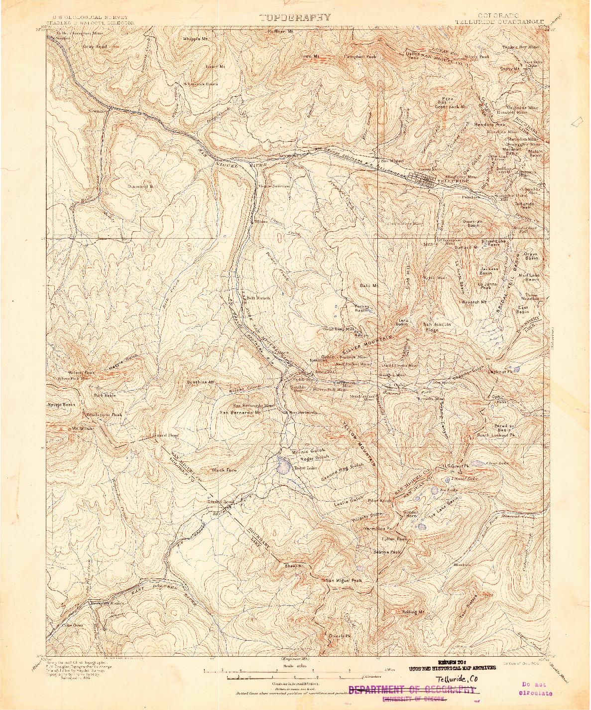 USGS 1:62500-SCALE QUADRANGLE FOR TELLURIDE, CO 1904