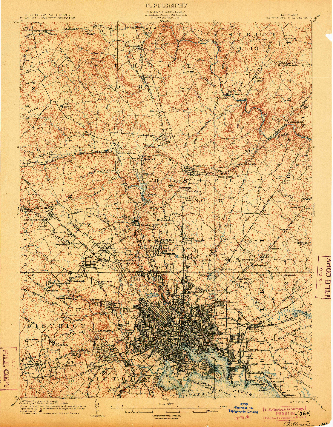 USGS 1:62500-SCALE QUADRANGLE FOR BALTIMORE, MD 1904