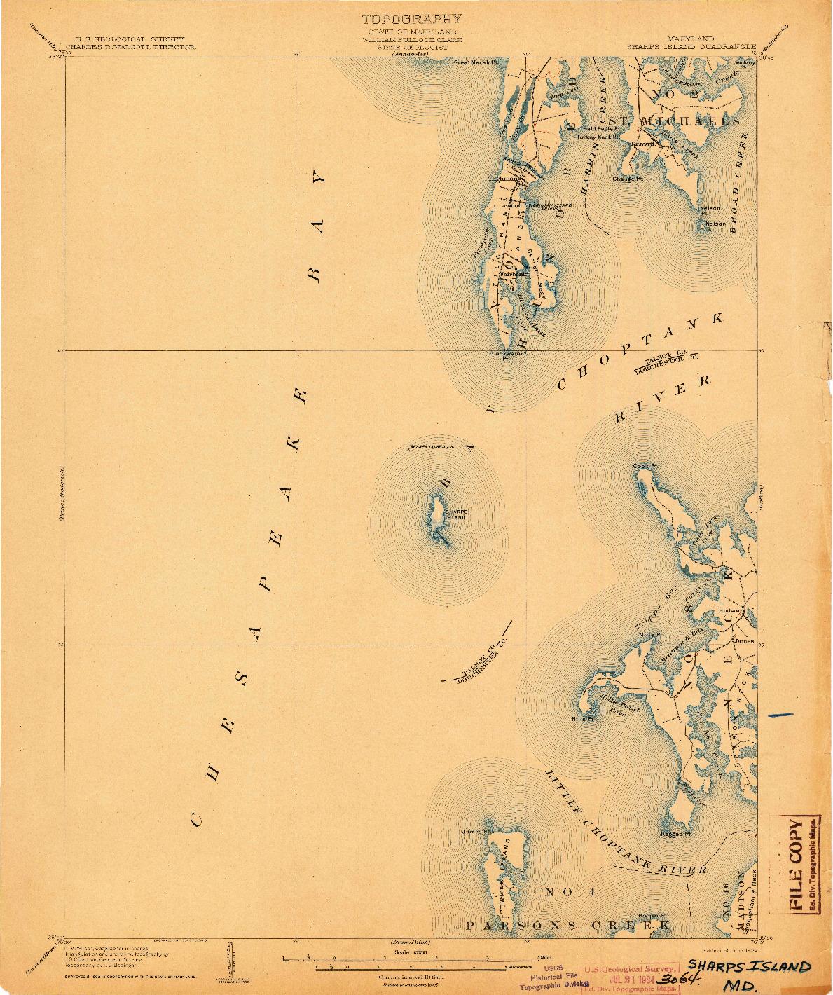 USGS 1:62500-SCALE QUADRANGLE FOR SHARPS ISLAND, MD 1904