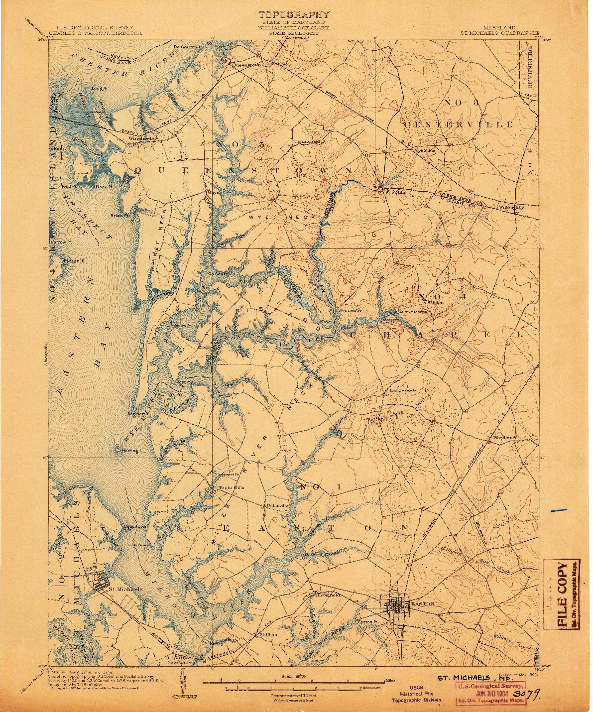 USGS 1:62500-SCALE QUADRANGLE FOR ST. MICHAELS, MD 1904