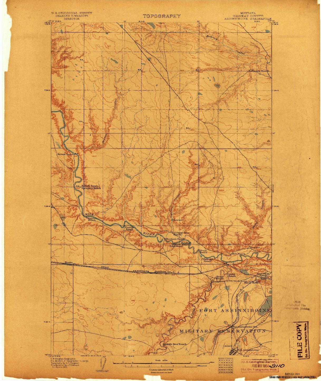 USGS 1:62500-SCALE QUADRANGLE FOR ASSINNIBOINE, MT 1904