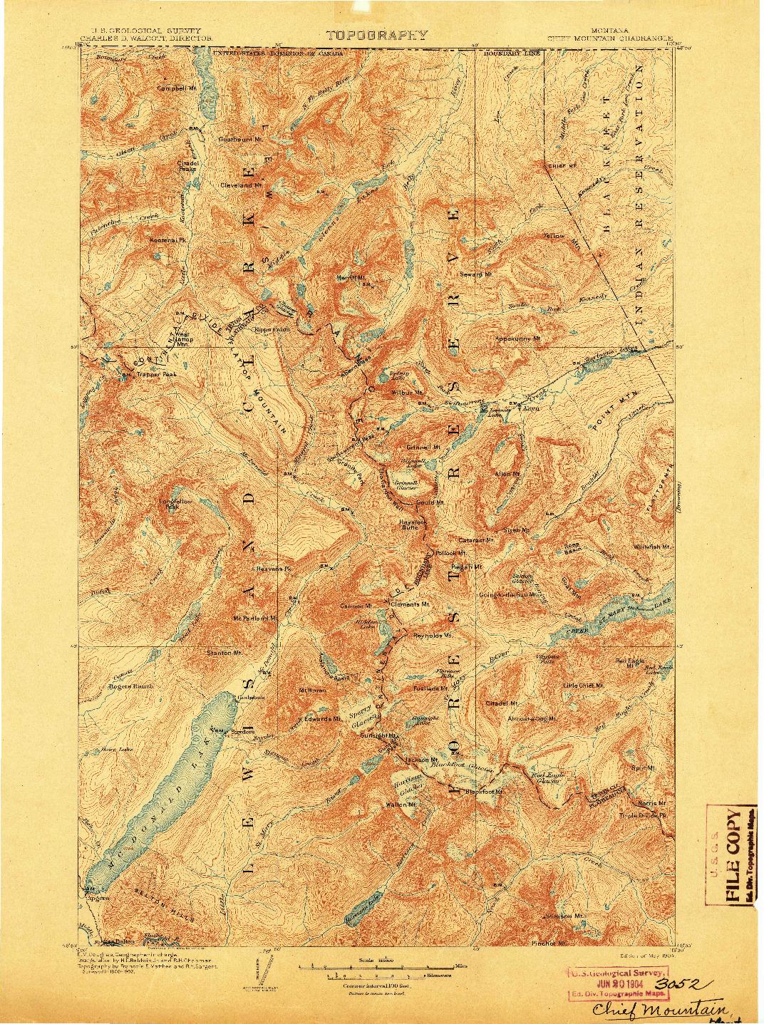 USGS 1:125000-SCALE QUADRANGLE FOR CHIEF MOUNTAIN, MT 1904