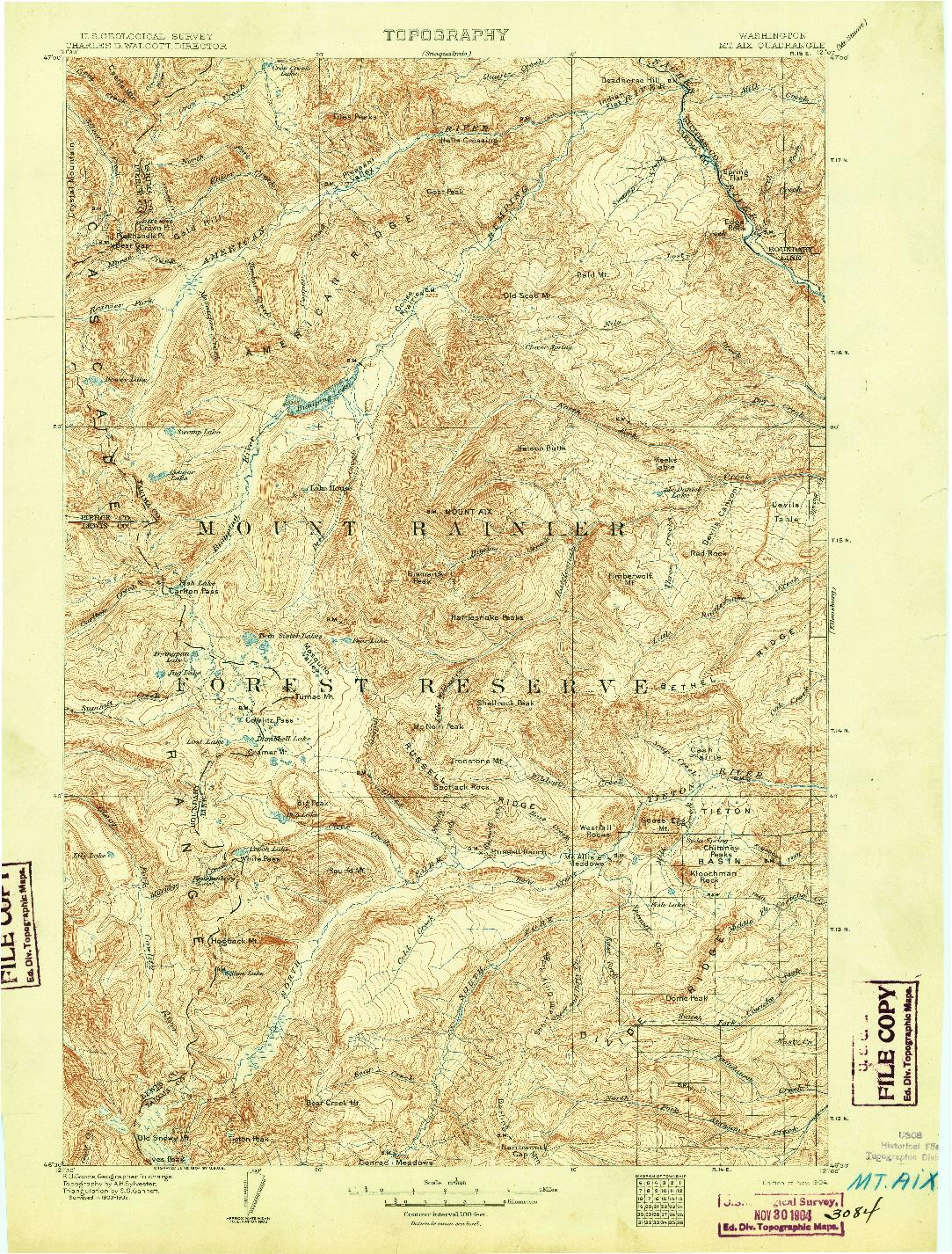 USGS 1:125000-SCALE QUADRANGLE FOR MT AIX, WA 1904
