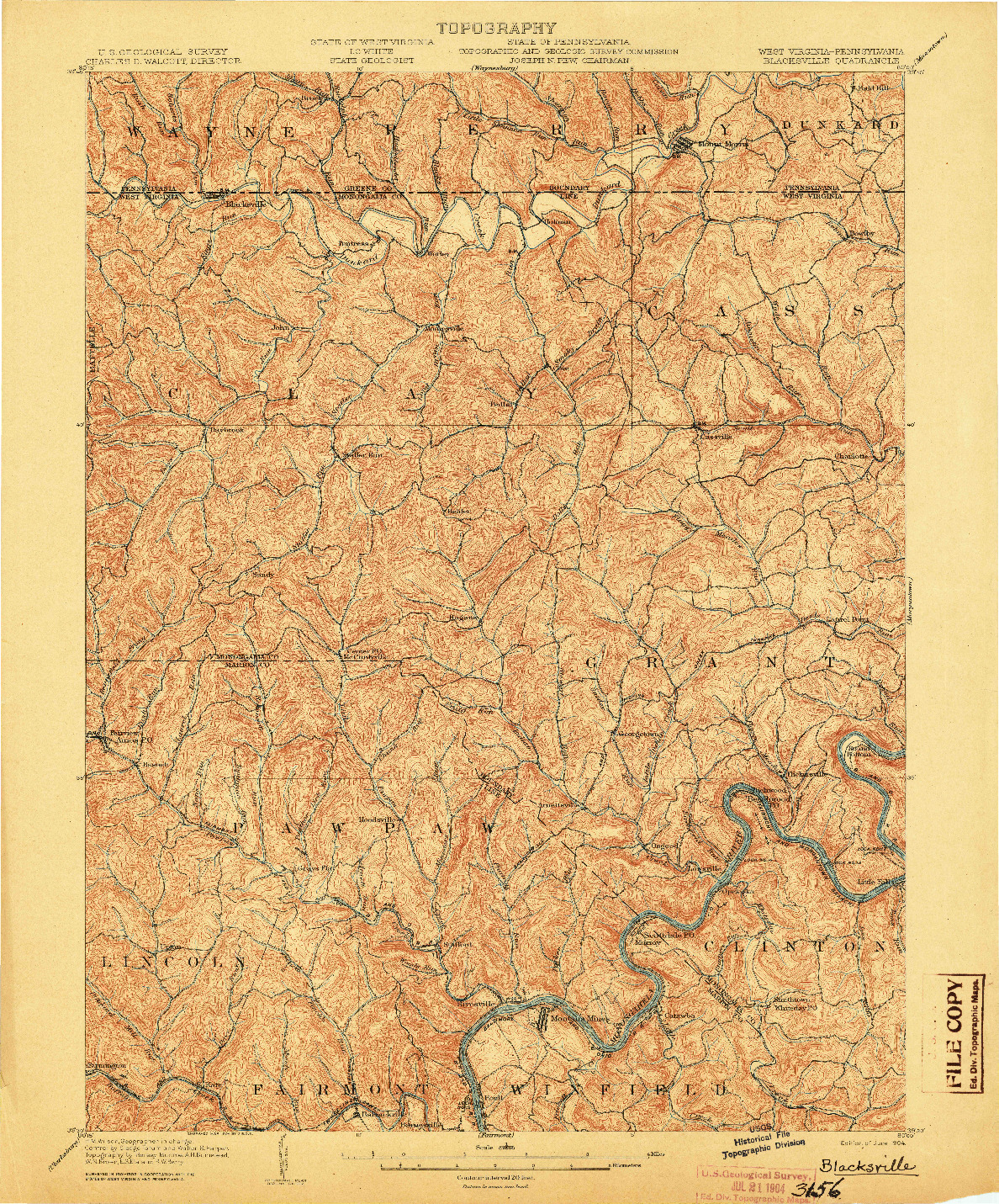 USGS 1:62500-SCALE QUADRANGLE FOR BLACKSVILLE, WV 1904