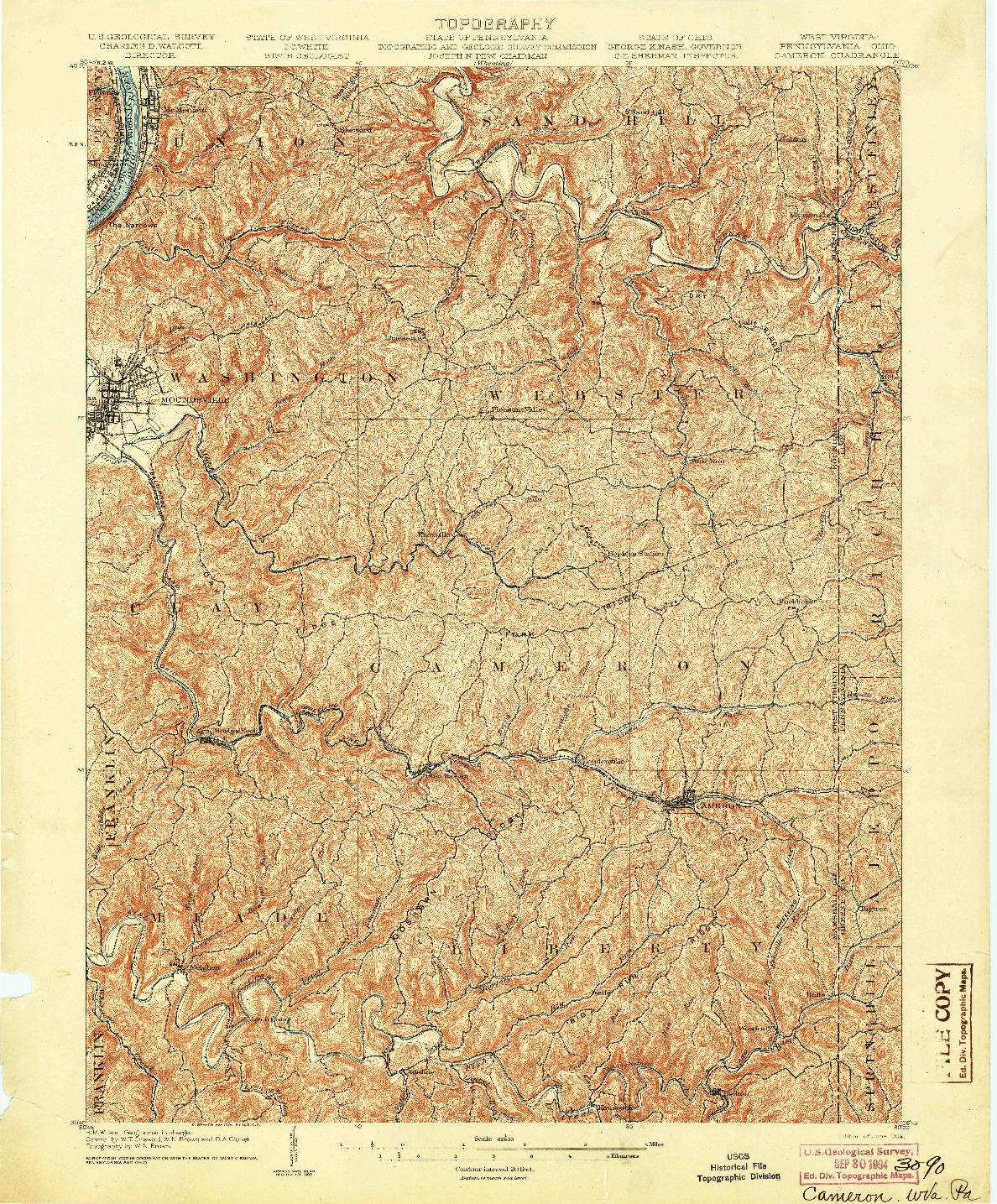 USGS 1:62500-SCALE QUADRANGLE FOR CAMERON, WV 1904