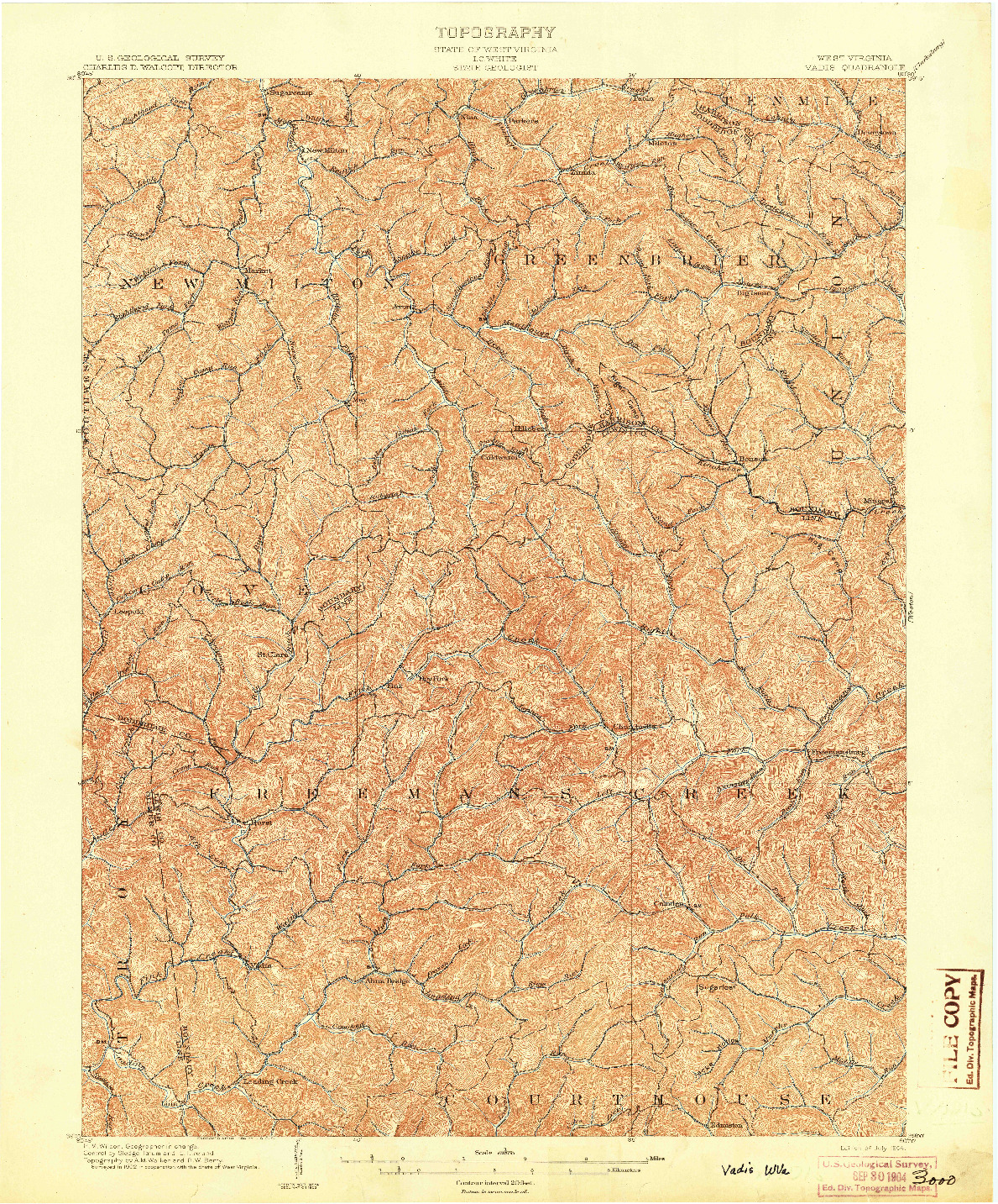 USGS 1:62500-SCALE QUADRANGLE FOR VADIS, WV 1904