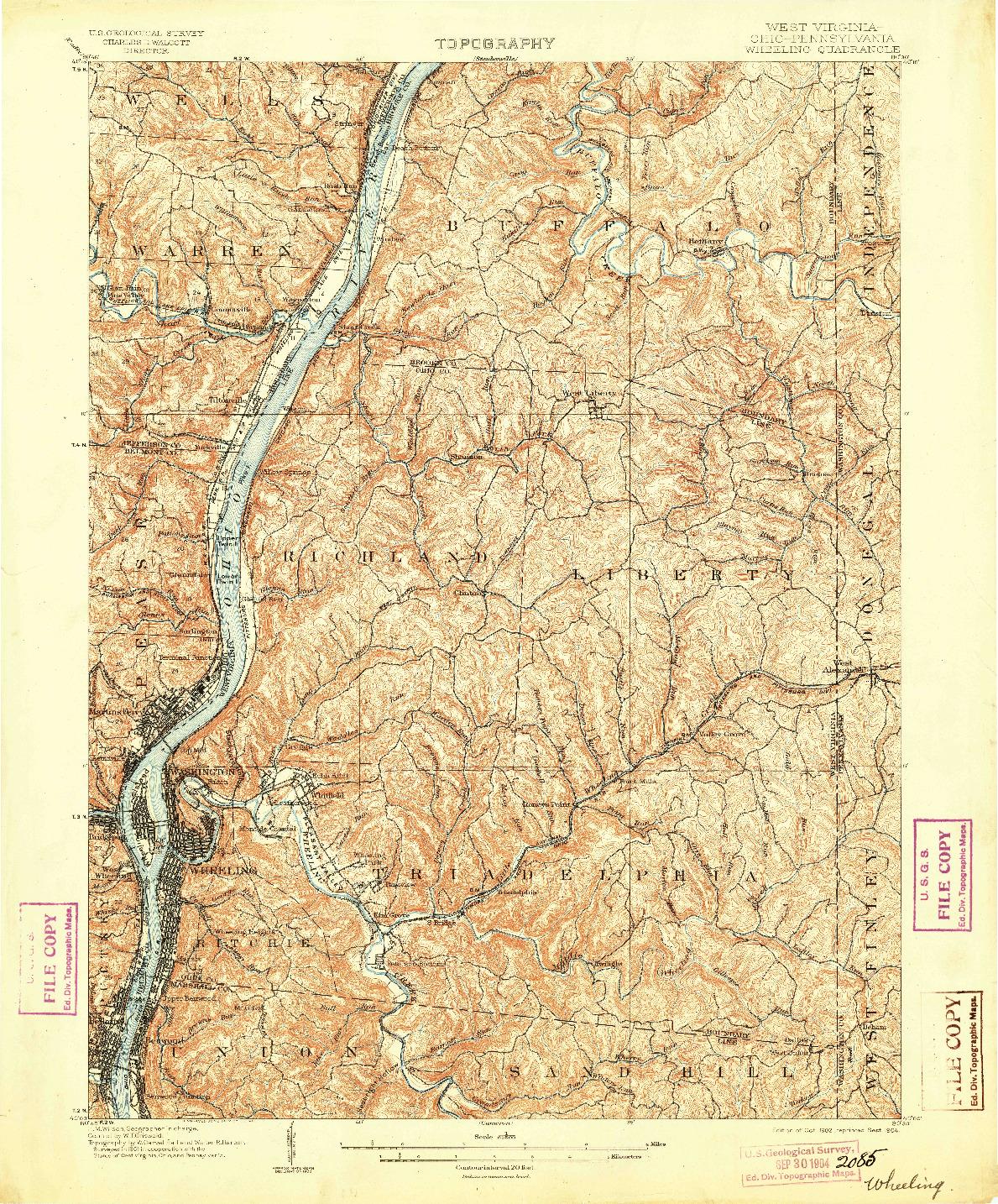 USGS 1:62500-SCALE QUADRANGLE FOR WHEELING, WV 1902