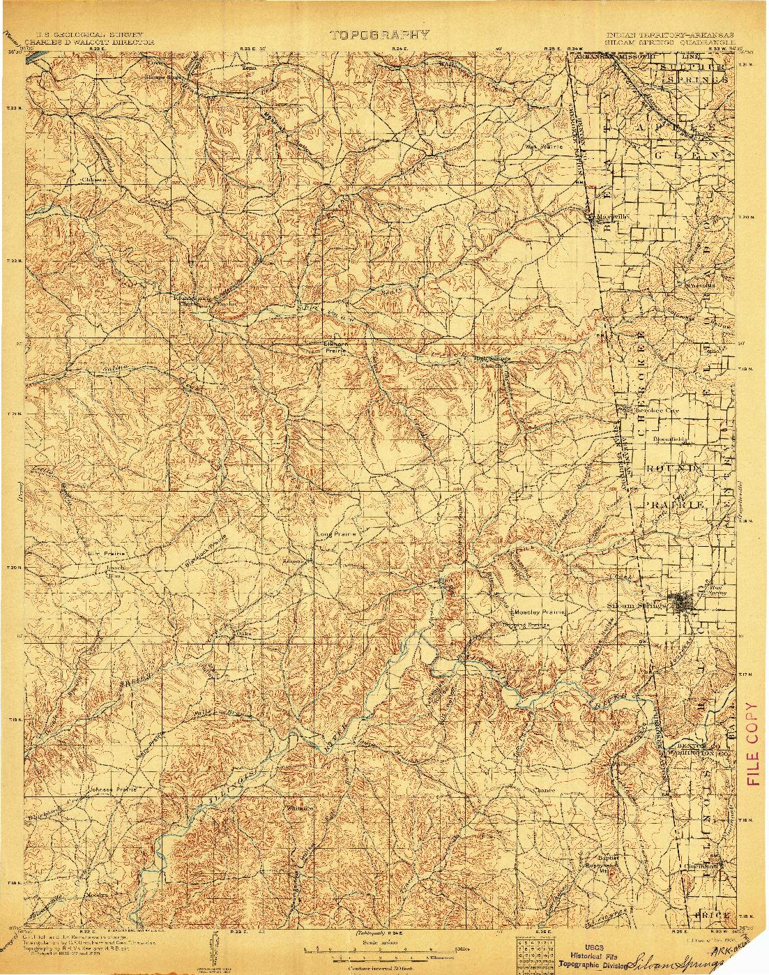 USGS 1:125000-SCALE QUADRANGLE FOR SILOAM SPRINGS, AR 1904